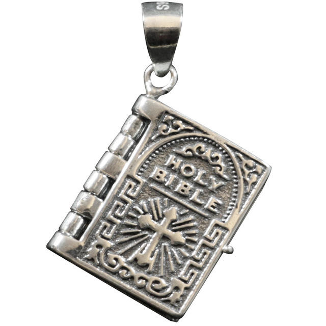 925 sterling silver Thai silver Bible Necklace Small book Open Pendant Flip page European and American prayer pendant