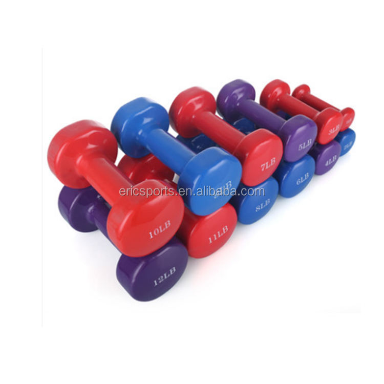 customized logo size color pvc round shape vinyl neoprene dumbbell