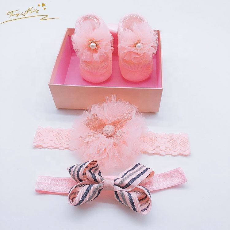 Professional made bowknot headband handmade stylish flower baby socks set socks headband set