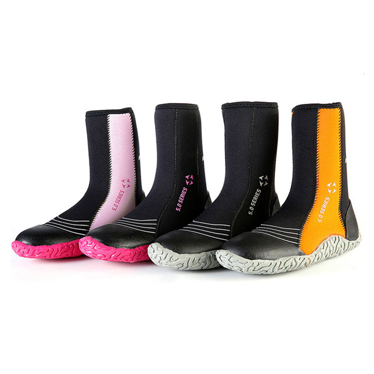 5mm SCR neoprene high upper warm boots Winter Water Sport surfing fishing scuba diving shoes anti scratch beach Boots shoes