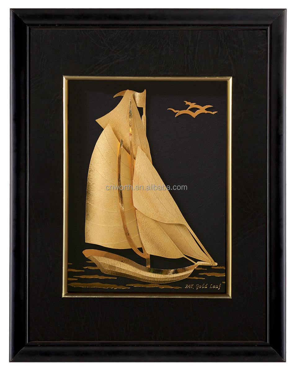 Ship Design Gold Frame Pure Handmade 24k Gold Foil Chinese Arts Directly Factory Supply