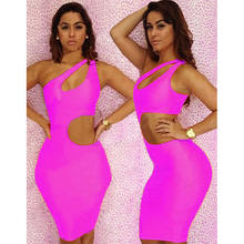 Factory Custom Newest Fashion Women One Shoulder Sleeveless Cut Out  Bodycon Dress