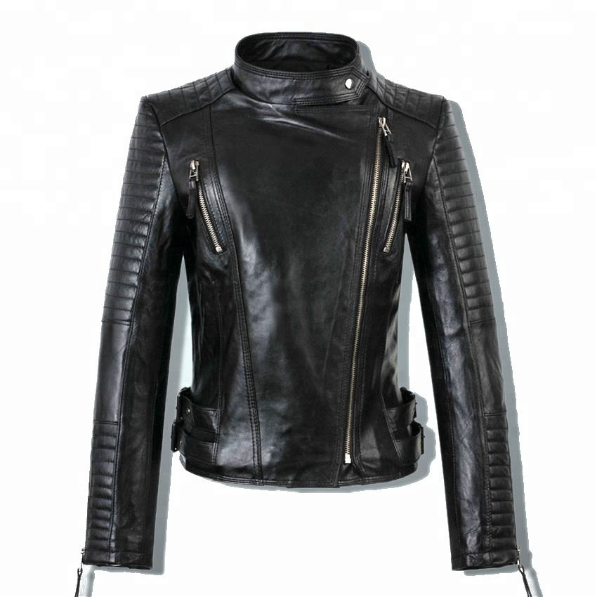 Wholesale Fashion Short Slim Fit Shop Black Synthetic Leather Jacket Women