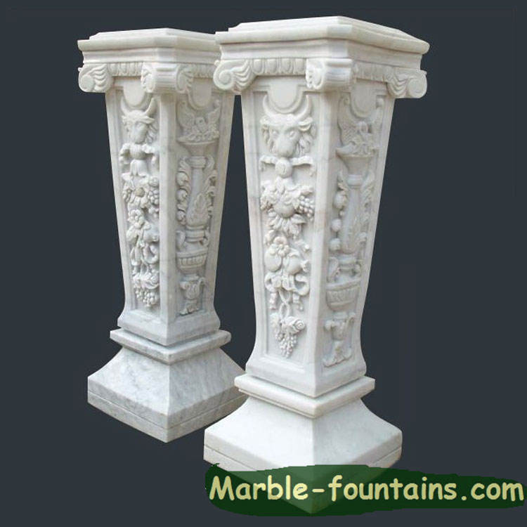 column pillar square base pure white marble stands pedestals