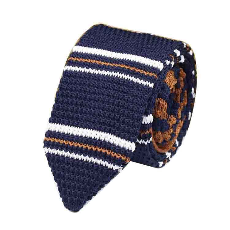 New Knit Leisure Triangle Striped Ties Knitted Necktie