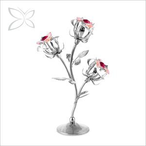 Crystocraft Crystal Rose Flowers Bouquet Figurine Home Decor Metal Craft with Crystals from Swarovski Mother Day Valentine Gift