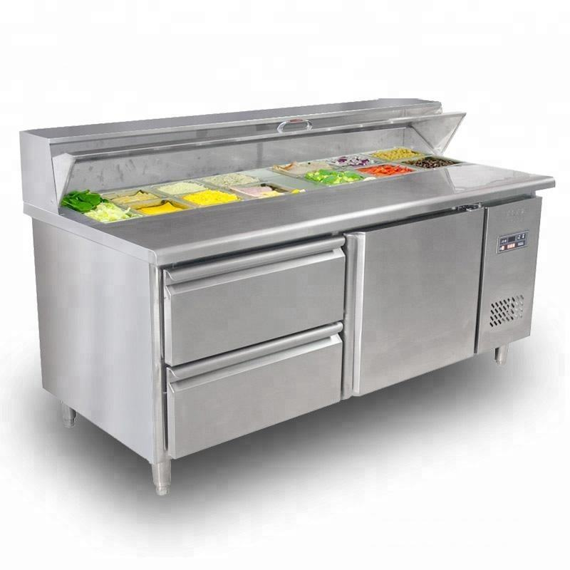 Polar Refrigerated Pizza And Salad Prep Counter Display 390 L Commercial Fridge