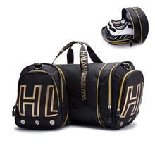 Factory custom printing logo travel bag waterproof folding duffle bag sport fitness bag gym pouch with shoes compartment