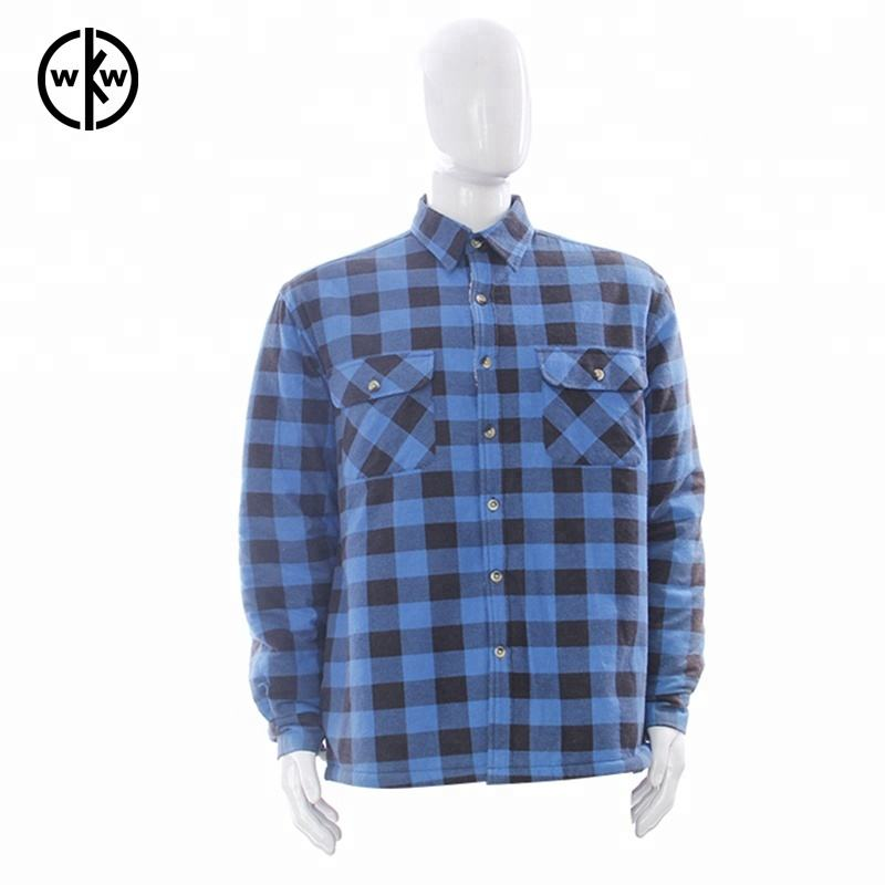 100% cotton long sleeve yarn dye plaid sherpa lining flannelette shirts