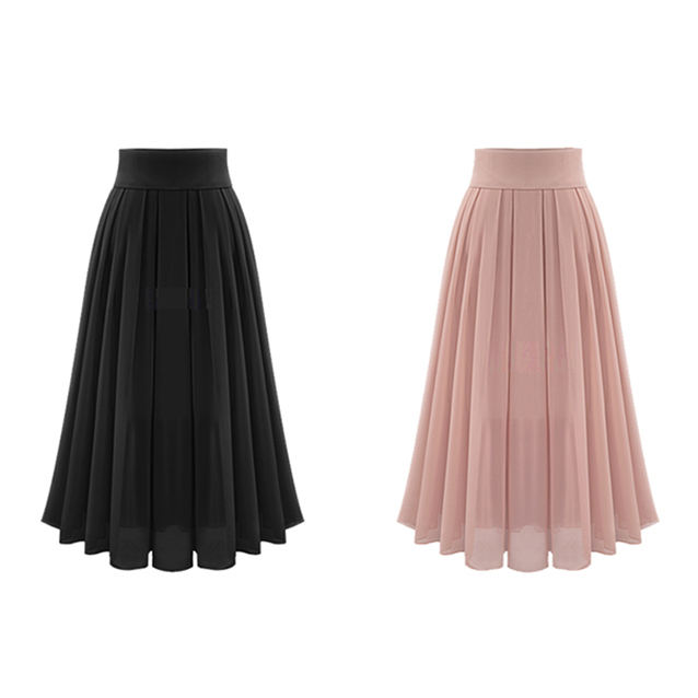 2020 Cheap Price A-line Casual Chiffon Summer Long Maxi Pleated Women Skirts