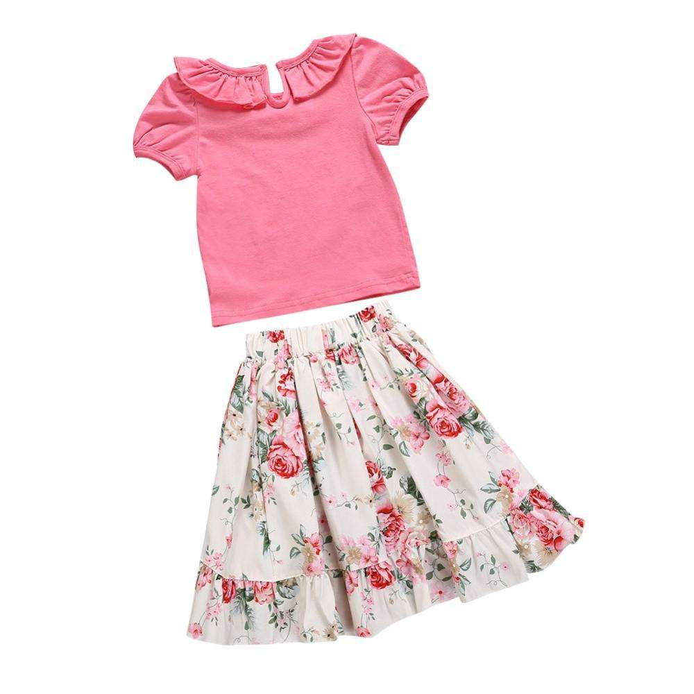 Children Girls Casual Summer Ruffle Short Sleeve Tops T-shirt+Floral Skirts Suits Costume Set
