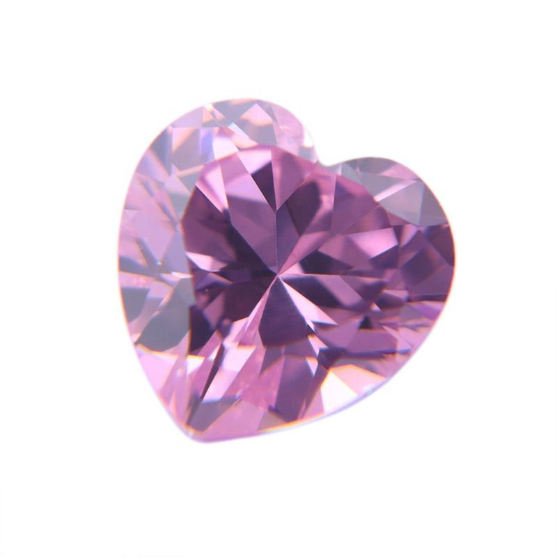 Pink Heart Shape Cut Diamond Cubic Zirconia Stones CZ Gems