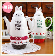 ceramic animal design modern coffee & tea sets ceramic  rabbit tea cups sets for two
