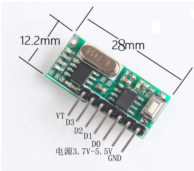 Wireless Rf 315/433mhz 4 Channels Receiver Modules And Transmitter with Learning Button