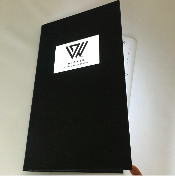 rechargeable lighting menu book M8514 with a lighted logo window on the front cover