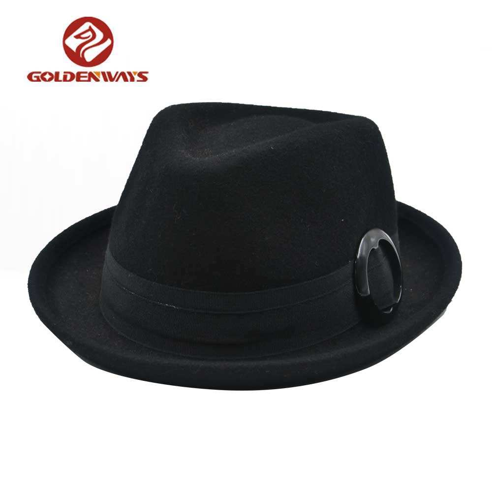 Heren herfst winter up brim fedora zwarte hoed