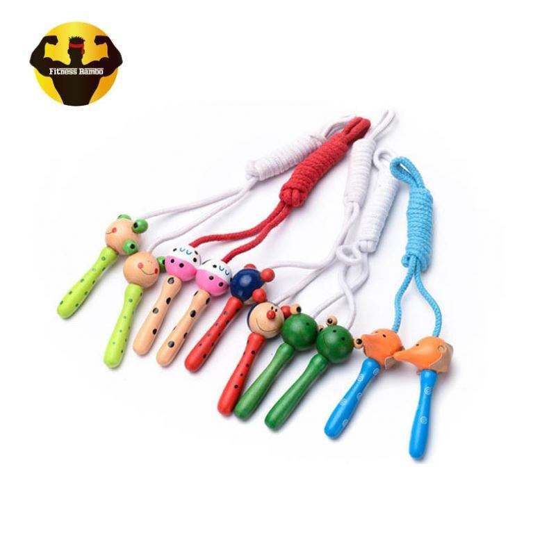 RAMBO Chinese Kids Sports Toys Cotton Cheap Jump Rope With Wood Handles Wooden Handle