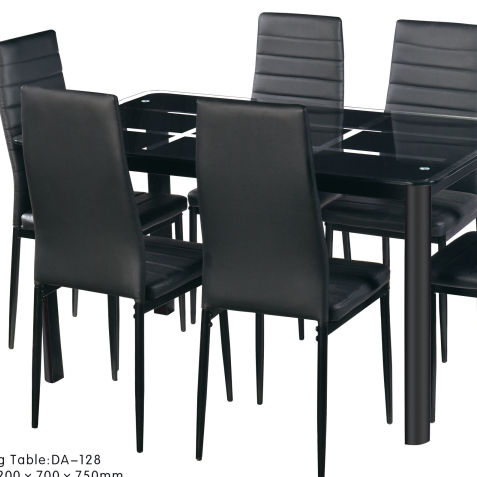 Mecor Dining Room Table Set, 7 Pieces Glass Kitchen Table and Leather Chairs Kitchen Furniture (Black)