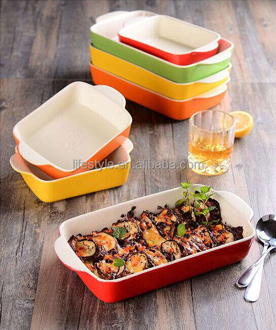 colorful glazed stoneware baking pan dishes custom ceramic bakeware sets