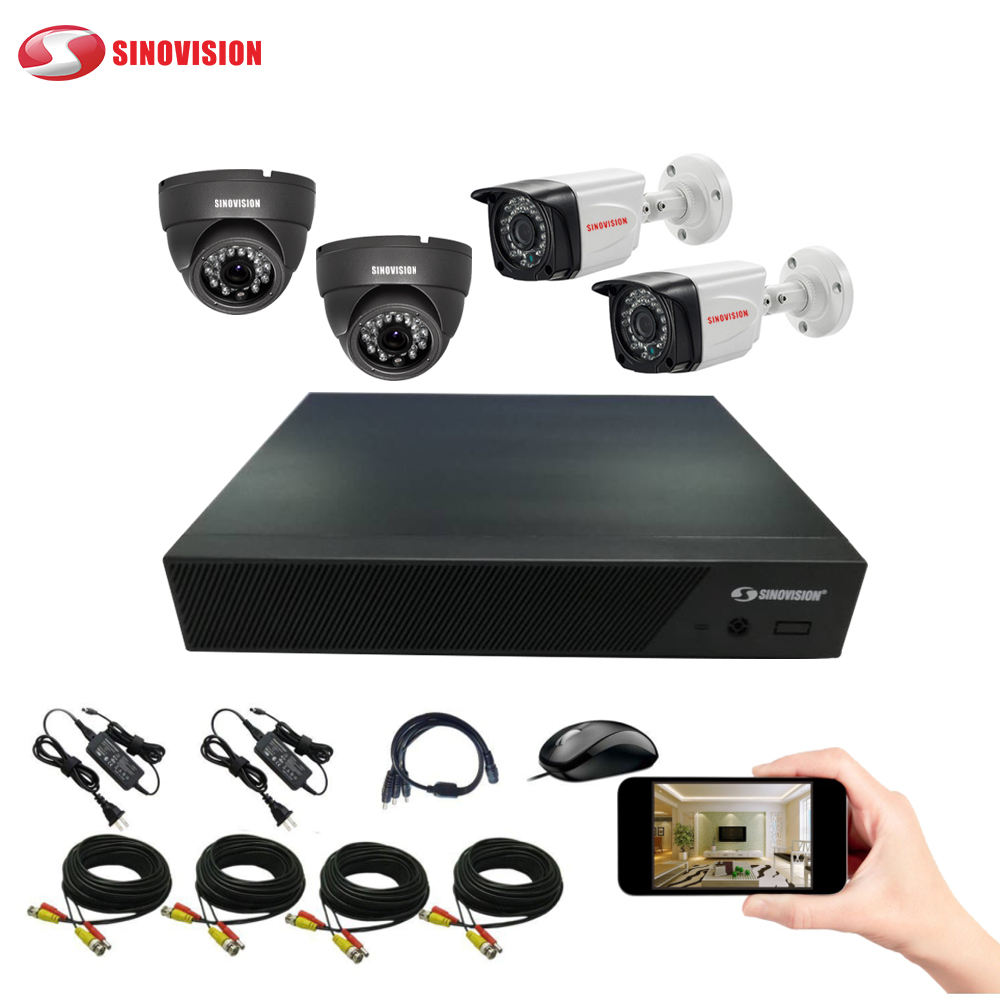 Sinovision China factory H.264 AHD Kit 4CH CCTV DVR with 4 Cameras Outdoor/indoor Security support 1TB HDD ahd dvr kits