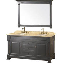 Modern Double Sink Bathroom vanity Granite top double mirror solid wood quality