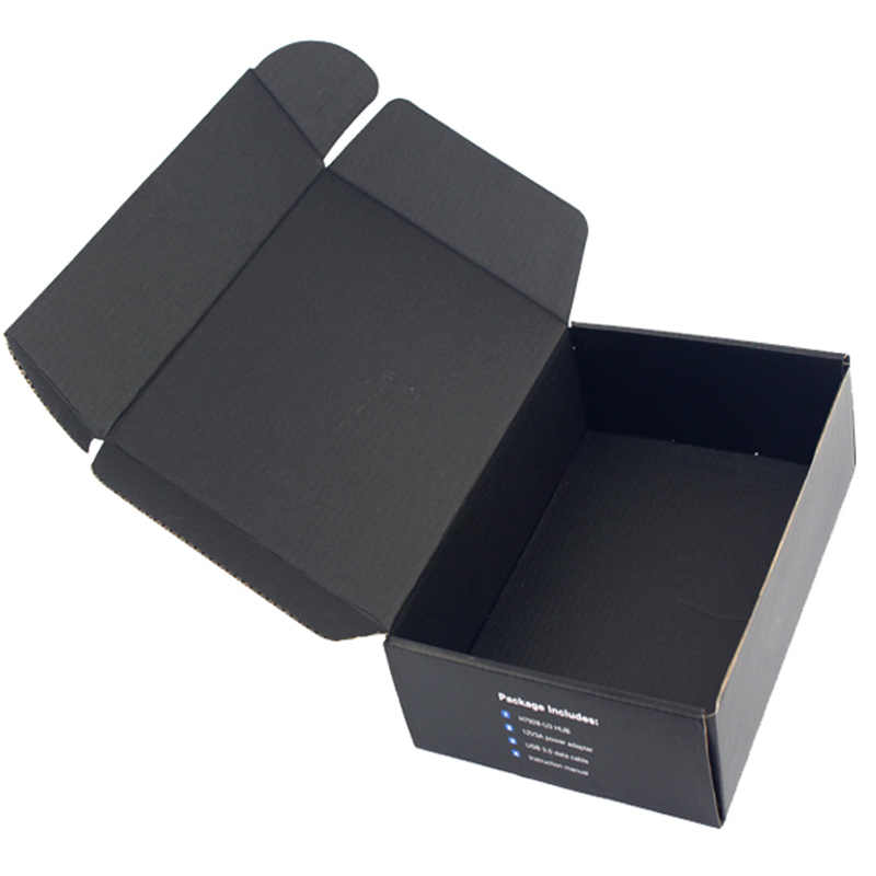 Custom black corrugated die cut shipping mailer gift box