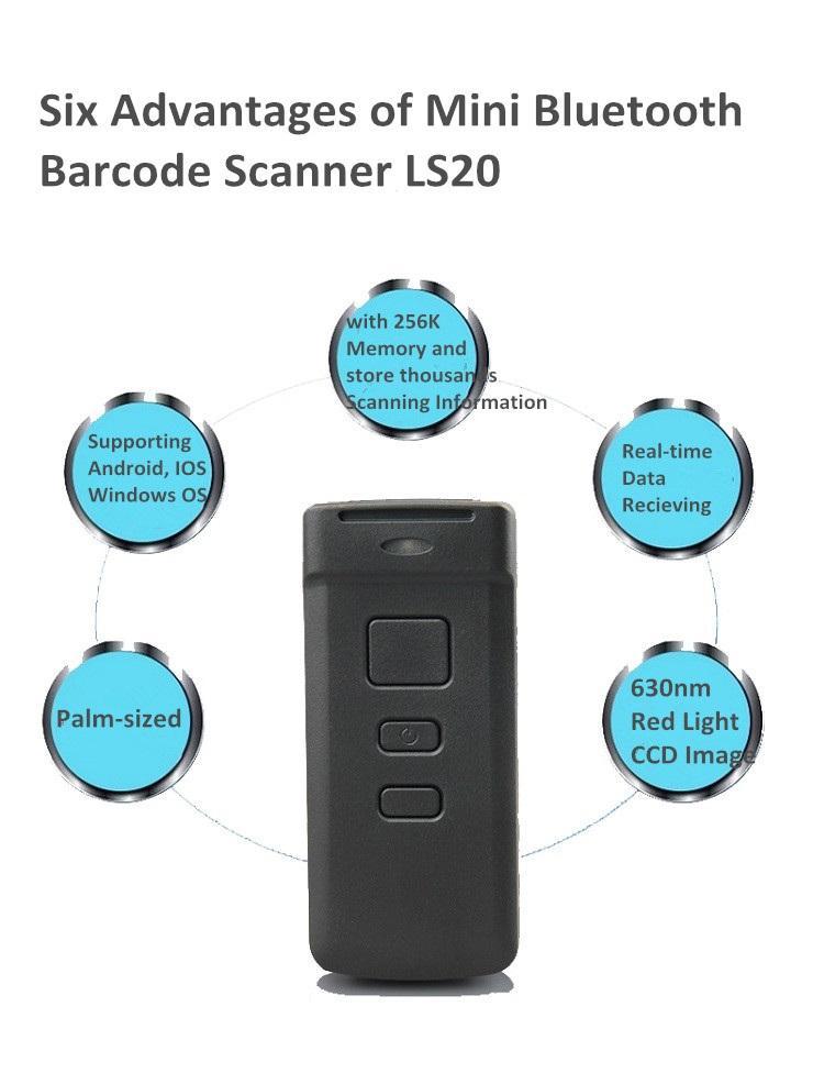 Bolsillo CCD mini bluetooth barcode scanner con dos pilas <span class=keywords><strong>aa</strong></span>