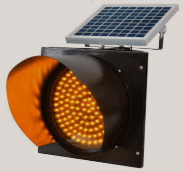 LED Yellow Waterproof Solar Traffic Signal Warning Light