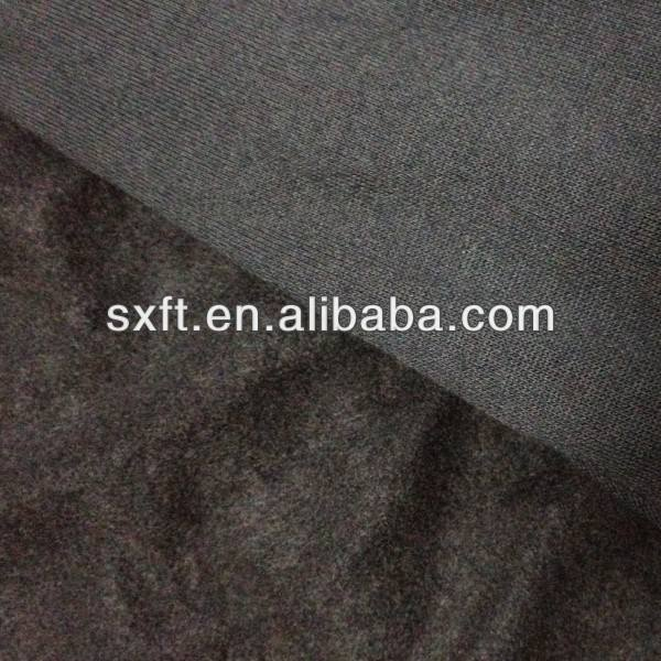 65% poly 35% cotton one side brushed fleece fabric
