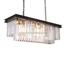 Modern European Large and luxury odeon rectangle led k9 crystal Chandelier for hotel lighting L800*W300*H250mm