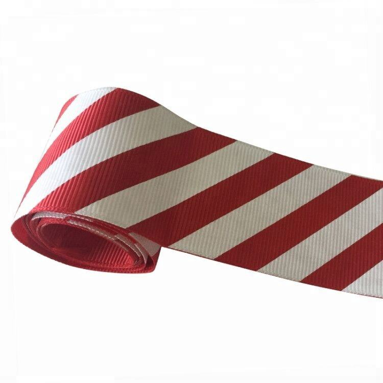 1 inch Wholesale Custom candy red white striped ribbon