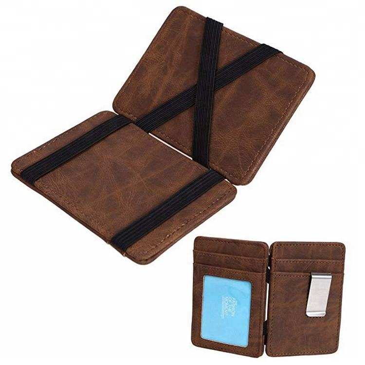 Brown crazy horse genuine leather magic wallet with money clip