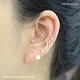 2020 New Arrive Pearl Rhinestone Unique No piercing Clip On 925 Sterling Silver Earrings Ear Cuff