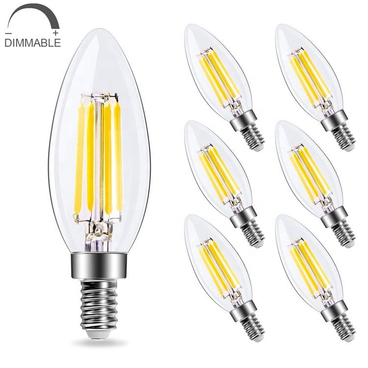 C35 Candle Light Bulb 40W Equivalent 2700K Warm White E12 Edison Bulb LED Candelabra Bulb