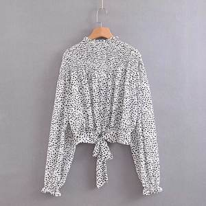 High fashion turtle neck long sleeve animal print women chiffon blouse
