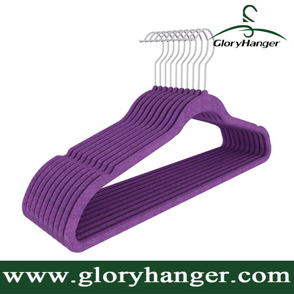 Guangxi Factory Wholesale Custom Flocked Velvet Clothing Hanger in Orange and Purple Color