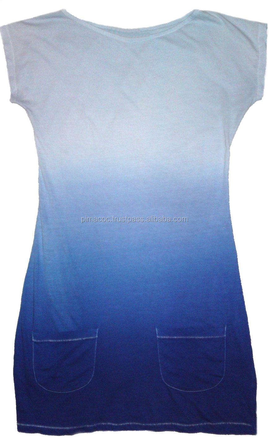 100% Pima Cotton Women Dress T-Shirt , Deep Dye Effect