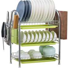 Kitchen bowl dish drying tool-free installation 3 tier chrome plating stainless steel dish drainer rack