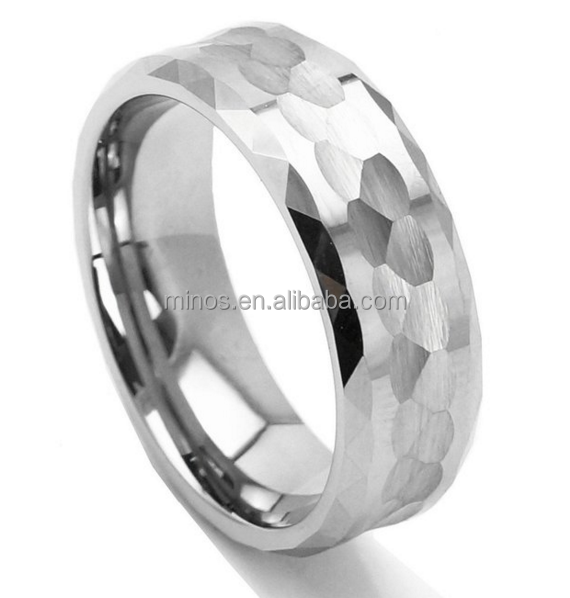 Men Tungsten Metal Ring Hammered Multi faceted Design Wedding Band Polished Ring