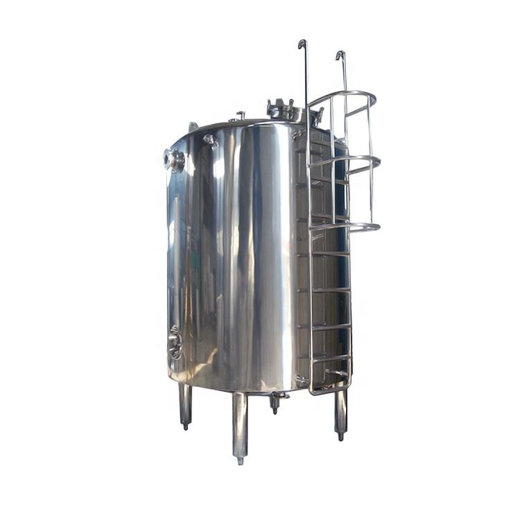 Sanitary Stainless steel beverage juice milk vertical storage tank with wheel agitator stirring blending storage tank