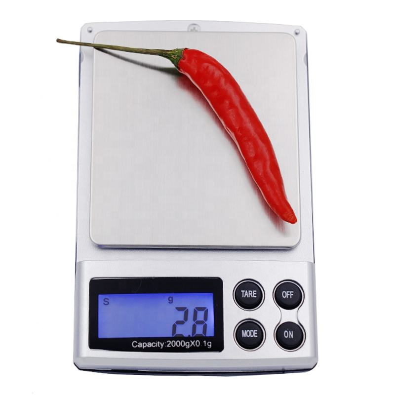2000g x 0.1g New Portable LCD Display Mini Pocket Jewelry Digital Scales Electronic Weighing Kitchen Scales Balance