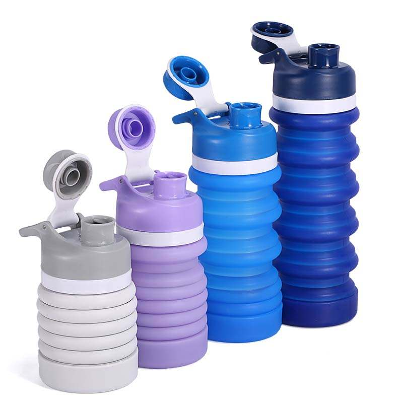New Custom Eco-friendly Leakproof Foldable Drink Bottle Custom Sport Outdoor Bpa Free Kid Silicone Collapsible Water Bottle