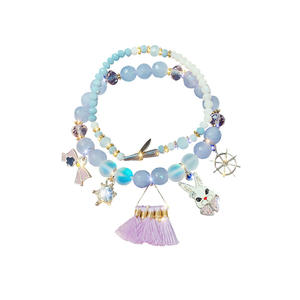 Sample Free crystal double layer heart stretch tassel cute rabbit handmade bracelet for girl
