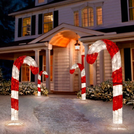 LED illuminated candy canes 2D light christmas motif light for out door decoration