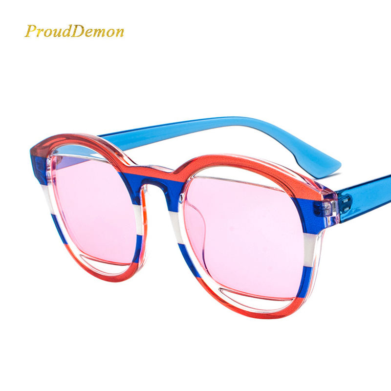 JT6878 Fashion Flag Doodle Eyeglasses Women Vintage Round Brand Designer Sunglasses 2020