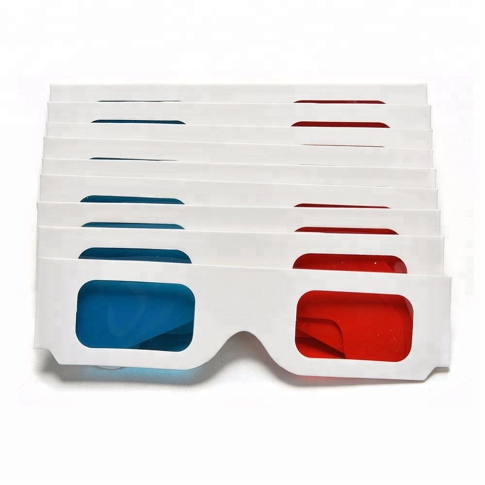 2000 pcs Red Blue Lens 3D Cardboard Glasses with White paper Frame