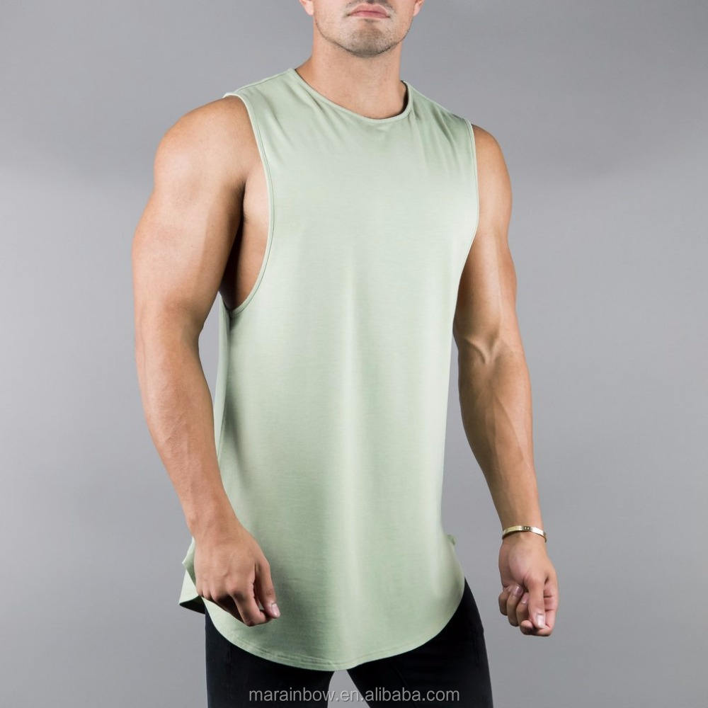 Olive 95% Cotton 5% Spandex Mens Longline Curved Hem Tank Top Lifestyle Cutoff Shirts Custom Gym Sleeveless Shirt