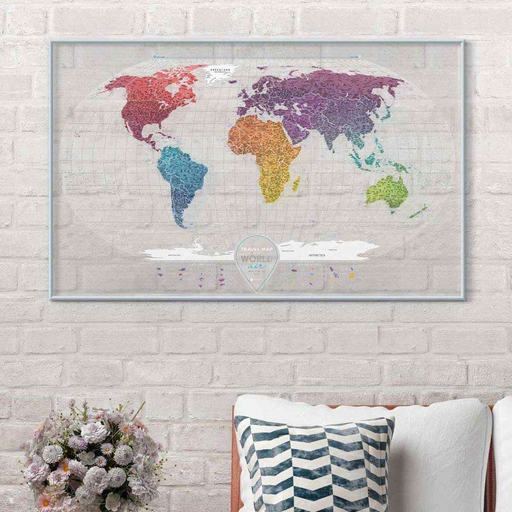 "Transparent Scratch Off World Map Premium Edition 37.8"" x 23.6"" Detailed Rewritable Places I've Been Travel Map Printed"