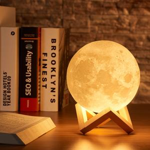 Rambery moon lamp 3D print Lunar light Rechargeable Touch 2 Color Change night lamp 16 Colors Change Remote LED night light gift
