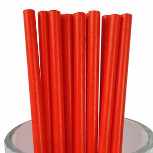High Quality Holiday Supplies Solid Red Paper Straws For A Bottle